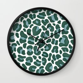 Teal Leopard Print Wall Clock