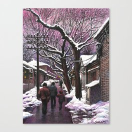 Snowy street at nightfall Canvas Print