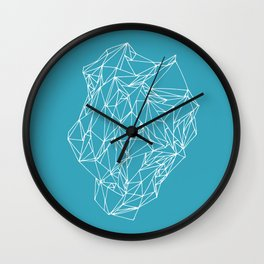 Geometric pattern 01 minimalistic triangles white on teal Wall Clock