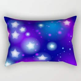 Milky Way Abstract pattern with neon stars on blue background Rectangular Pillow