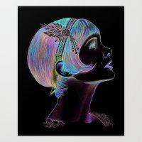 gatsby Art Prints featuring Carey Gatsby by ShayMacMorran