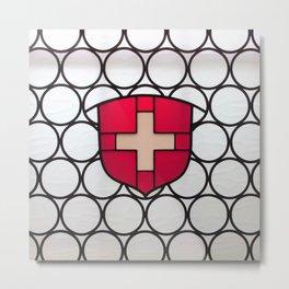 Swiss Flag Window Metal Print
