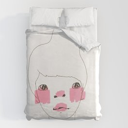Line Drawing of a Girl in Neon  Duvet Cover