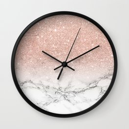 Modern faux rose gold pink glitter ombre white marble Wall Clock