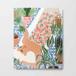 Moroccan Bath With Plants #botanical #illustration Metal Print