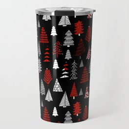 Christmas tree forest minimal scandi patterned holiday forest winter Travel Mug
