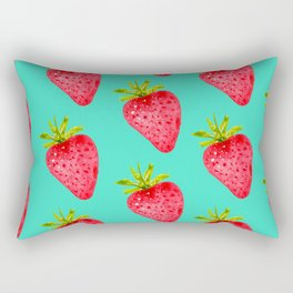 Summer Strawberries ( On Aqua )  Rectangular Pillow
