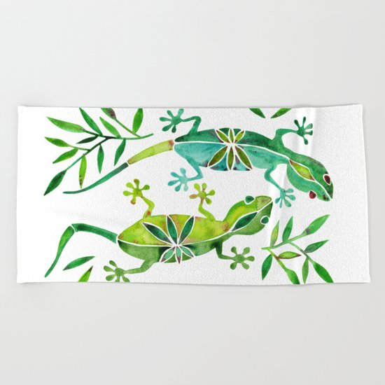 Geckos – Green Palette Beach Towel