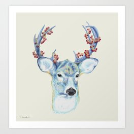 Christmas Deer - Forest animals series Art Print