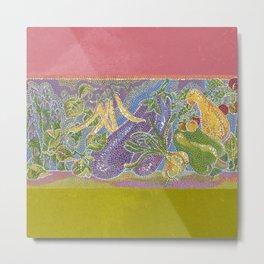 Pointillist Veggie Garden Metal Print