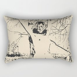 Slave girl, BDSM, Bondage in forest, woman tied to a tree, fetish artwork Rectangular Pillow