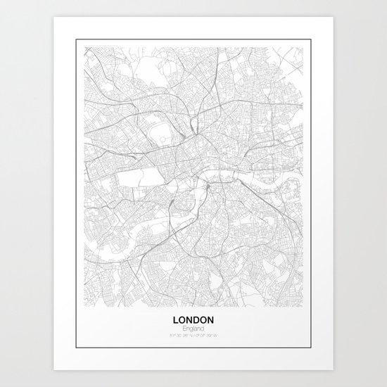London england minimalist map art print by resfeber for Minimal art gallery london