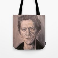 lou reed Tote Bags featuring Lou by Charles Ellison