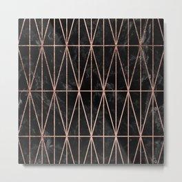 Modern geometric triangles faux rose gold pattern on black marble Metal Print
