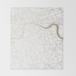 White on Gold London Street Map Throw Blanket