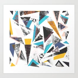 Colorful textured triangles - transparent Art Print