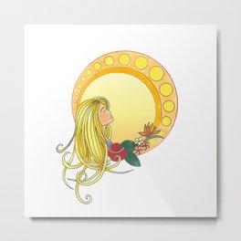 Gold Lady - Art Nouveau style Metal Print