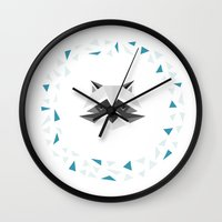 racoon Wall Clocks featuring Geometric Racoon by Studio Caro △