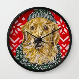 Golden Retriever in a Hat and Scarf Wall Clock