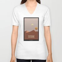 travel poster V-neck T-shirts featuring Tatooine Travel Poster by Tawd86