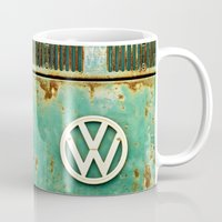 vw Mugs featuring VW Retro by Alice Gosling