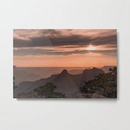 North_Rim Grand_Canyon Silhouette Sunset Metal Print