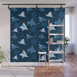 Blue stingrays pattern Wall Mural