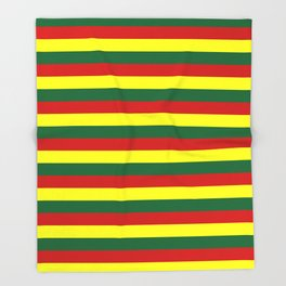 red green yellow stripes Throw Blanket