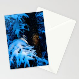 Silver Linings snow on trees Stationery Cards