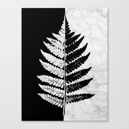 Natural Outlines - Fern Black & White Marble #853 Canvas Print