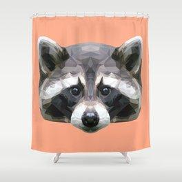 Raccoon // Apricot / Peach Shower Curtain