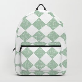 Rustic Farmhouse Checkers in Sage Green and White Backpack