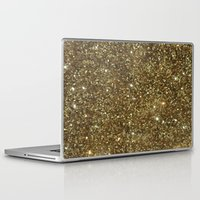 gold glitter Laptop & iPad Skins featuring Gold Glitter by NatalieBoBatalie