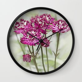 Pink Flowers in the Mist Wall Clock