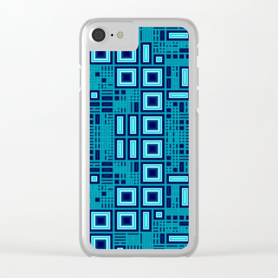 Blue digital geometric abstraction Clear iPhone Case