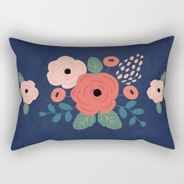 Flower Pattern, Pink Red Flowers on Blue, Vintage, Floral Rectangular Pillow