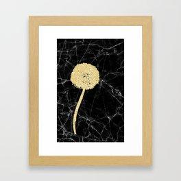 Golden Dandelion on Black Marble Framed Art Print