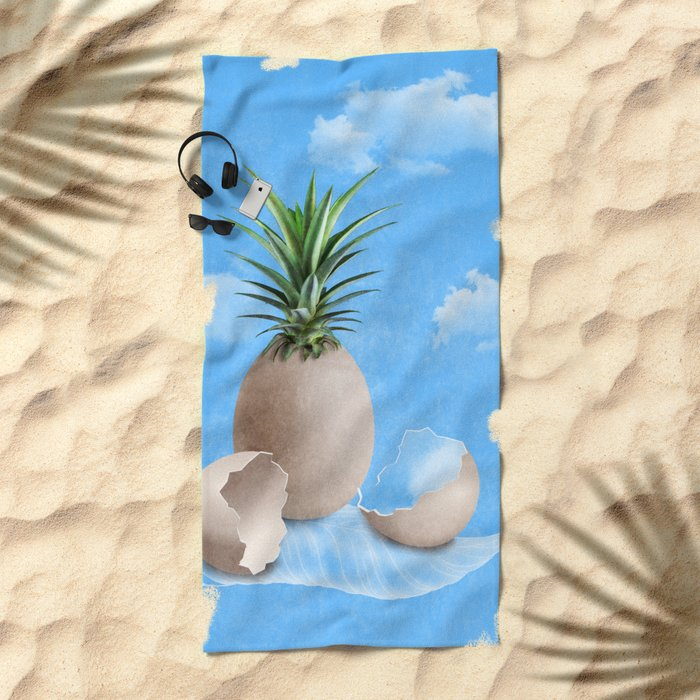 EGGS ON A FEATHER (surreal abstract) Beach Towel