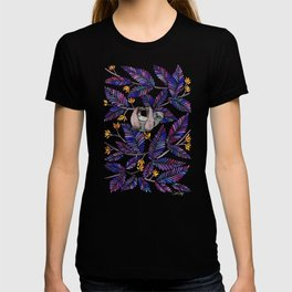 Happy Sloth – Tropical Indigo Leaves T-shirt