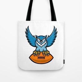 Great Horned Owl American Football Mascot Tote Bag