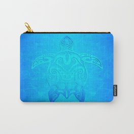 Ocean Blue Tribal Turtle Carry-All Pouch