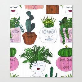 Planter Faces in White Woodgrain Canvas Print