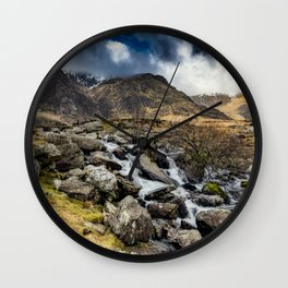 Glyderau Mountain Winter Wall Clock