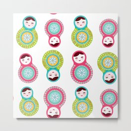 dolls matryoshka on white background, pink and blue colors Metal Print