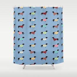Dachshund - Blue Sweaters #708 Shower Curtain