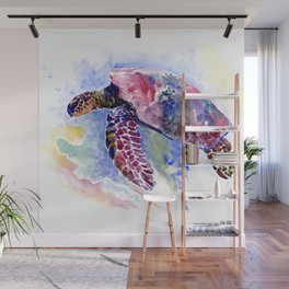 Sea Turtle , purple blue design, swimming sea turtle underwater beach scene Wall Mural