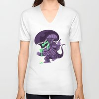 xenomorph V-neck T-shirts featuring Cute Xenomorph by nocturnallygeekyme