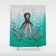 Antique Nautical Steampunk Octopus Vintage Kraken sea monster ombre turquoise blue pastel watercolor Shower Curtain