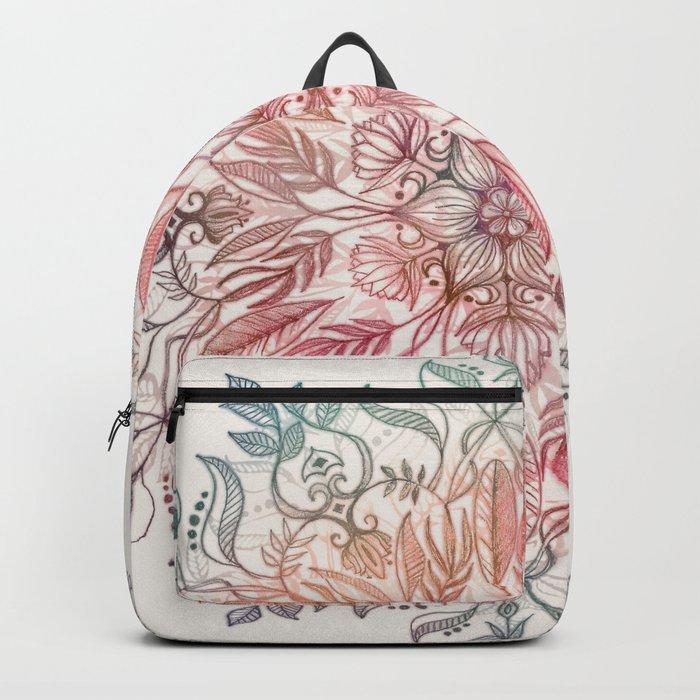 Autumn Spice Mandala in Coral, Cream and Rose Backpack