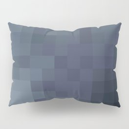Sea of Pixels Slate Blue and Grey Abstract Art Pillow Sham